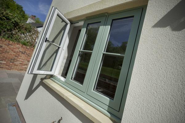 Infinity Flush Chartwell Green Window External White uPVC Inside