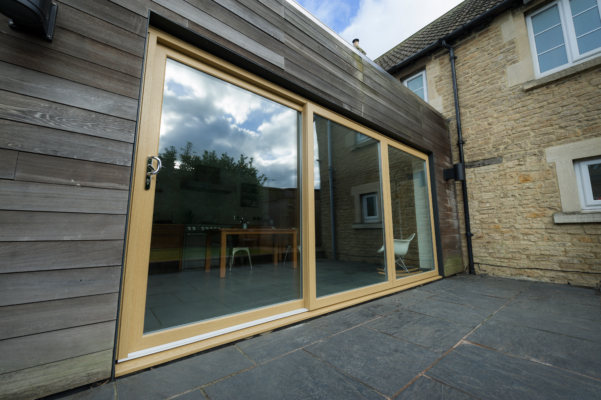 Sliding doors english oak outside view