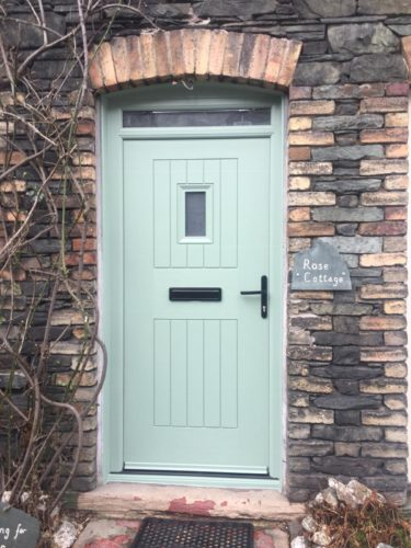 Front Cottage door in chartwell green with small glass pane and top light
